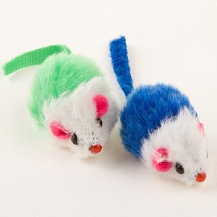 Смешная Кошка Интерактивная ложная красочная плюшевая мышь котенок мини мыши играющая игрушка звук скрипучий случайный многоцветный