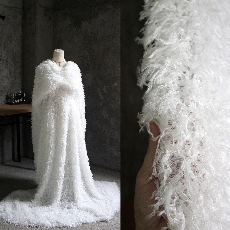 175X90 cm/pièce tissu de concepteur, créatif gland plume tissu moelleux bricolage manteau haut grade fond tissu