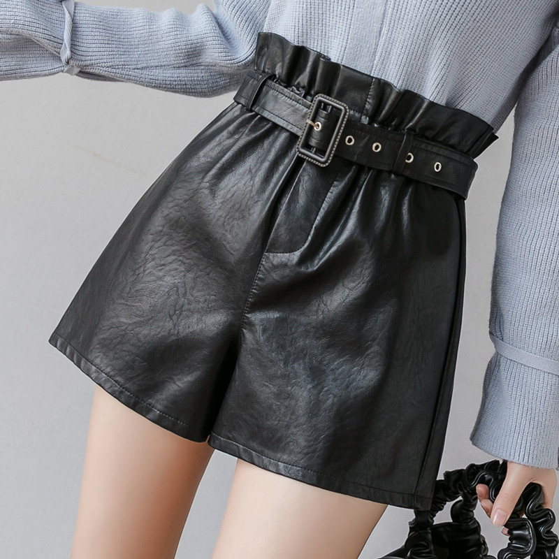 PU Leather Wide-legged Shorts With Slashes Women High Waist PU Ruffled Shorts Girls A-line Faux Leather Shorts Bottoms GT901