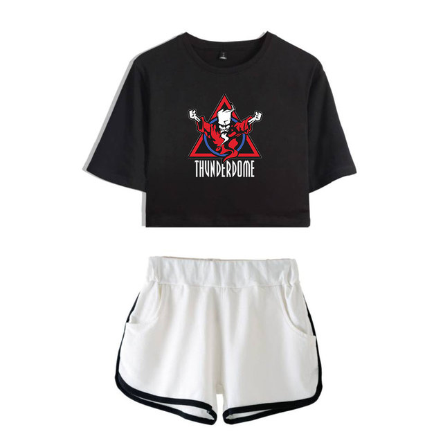 Thunderdome music Festival Printed Hip Pop Summer Cool Two Pieces Sets Navel Women T-shirts+shorts Harajuku Fashion Pullover Set 4