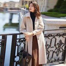 Alpaca Overcoat Women Coats Autumn Winter Warm Long Wool Coat Black Ladies Loose Casual Camel Runway Luxury
