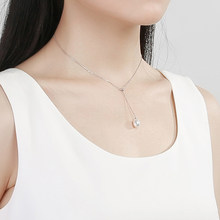 gN Pearl Drop Natural Freshwater Pearl Pendants Minimalist Necklace Choker 925 Sterling Silver Adjustble Chain 8-9mm gNPearl