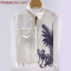 VERDEJULIAY European High Street Top Quality 100% Pure Silk Blouse Women Luxury Beading Tassel 2020 Spring Romantic Print Shirt