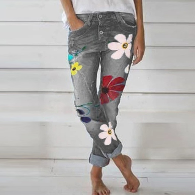 Women Floral Printed Jeans Studded Casual Ankle Length Straight Pencil Jeans High Waist Denim Blue Trousers