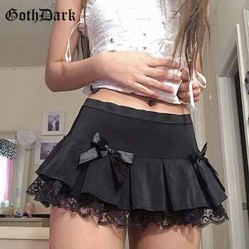 Goth Dark Lace Gothic High Waist Pleated Mini Skirts Harajuku Black E-Girl Sweet A-Line Micro Skirt Patchwork Women Sexy Party