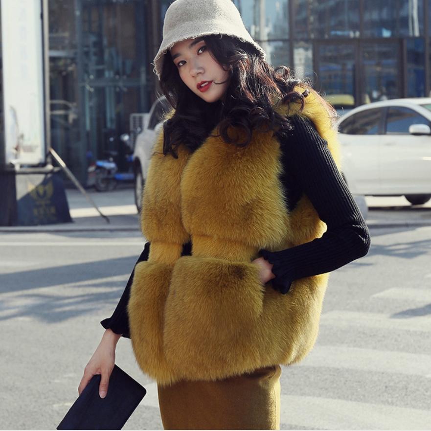Winter Fashion Women's Faux Fur Vest Fake Fur Coat Thicker warm Fox Fur Waistcoat Sleeveless fur stitching Plus size coat L1677
