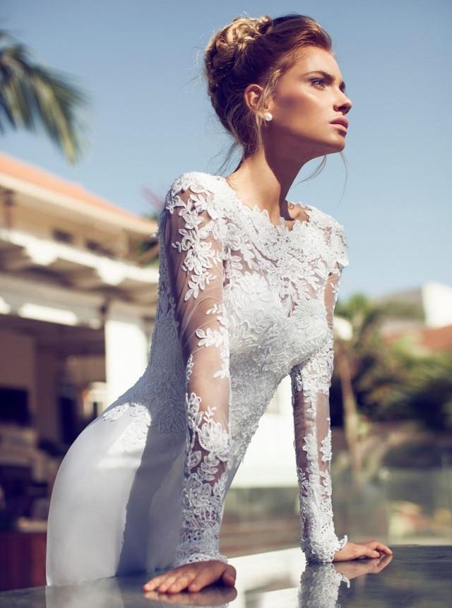 Modest A Line Long Sleeves Satin Lace Bridal Gowns Open Back Wedding Dress 2016 Chapel Train WS2642 Robe De Mariage