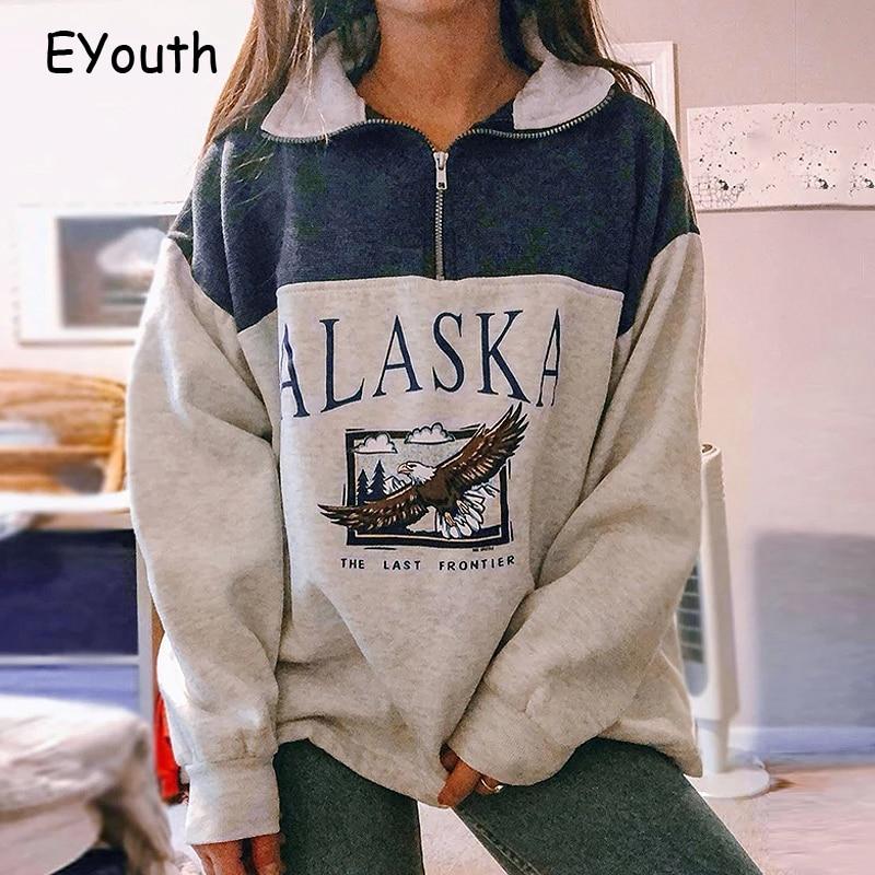 Hf1c8c2664fc6436d80e49f3ebc99d908p Fashion women's cotton Stand collar half zipper letter printing long sleeve sweatshirts Vintage Grey casual loose sweatshirt