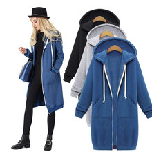 Autumn Winter Long Hooded Coat Solid Zipper with Pocket Hoodies Sweatshirt Women Outwear Jacket Tops 5XL
