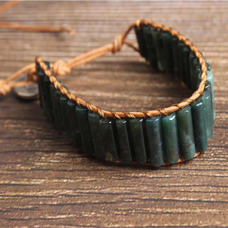 LanLi טבעי תכשיטי שחור צילינדר בהט אבן לסרוג צמיד גברים ונשים לתת מתנות ועצמי להשתמש סדרה