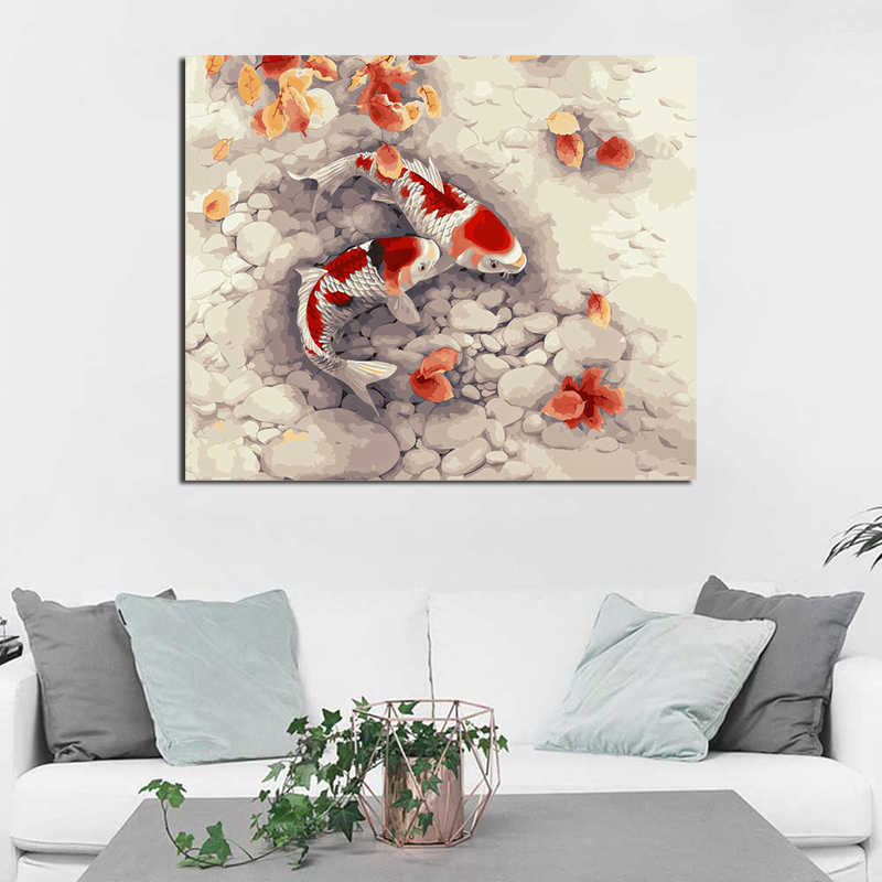 Koi Fish Animal Canvas Posters Prints Wall Art Painting Oil Decorative Picture Kids Room Bedroom Home Decoration Accessories HD