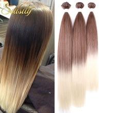 Saisity Weaving 26 Inch High Temperature Fiber Straight Synthetic Weave 3 Pcs/lot Natural Yaki Hair Bundles Black Long Hair