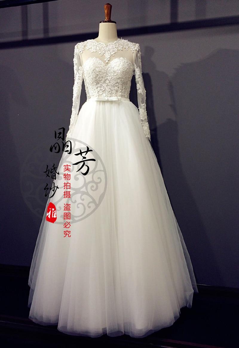 Free Shipping Casamento Long Sleeve Beading Appliques Vestido De Noiva 2016 New Fashionable Sexy Bridal Gown Wedding Dress Bride