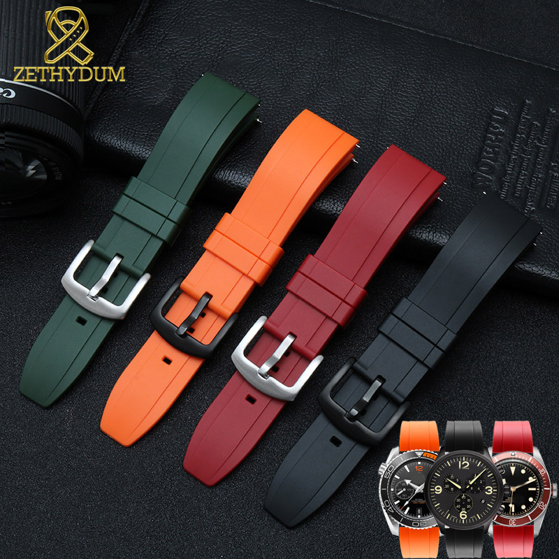 fluororubber watch strap Silicone Rubber bracelet quick release bar 22mm watchband for huawei watches other brands watch band-in Watchbands from Watches