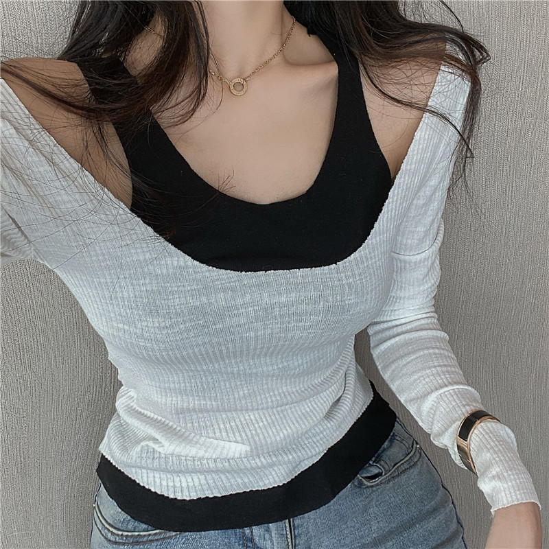Autumn Spring Women O-neck Long Sleeve T-shirts Tee Girls Slim Patchwork Fashion Off-shoulder Tees T Shirts Tops Female