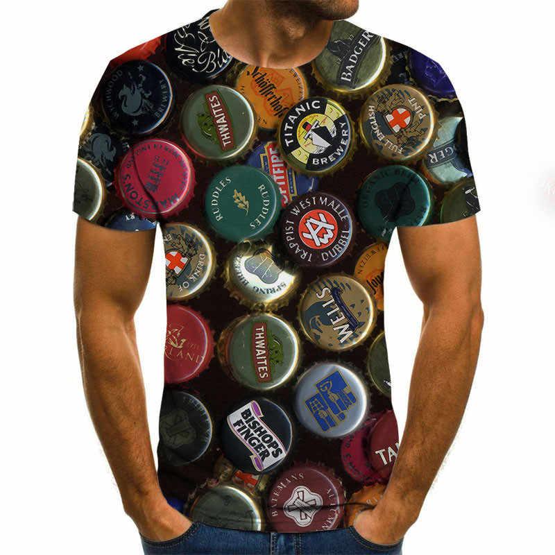 Bier 3D Print T Shirt Es der Zeit Brief Frauen Männer Lustige Neuheit T-shirt bier flasche cap Kurzarm Tops unisex Outfit Kleidung