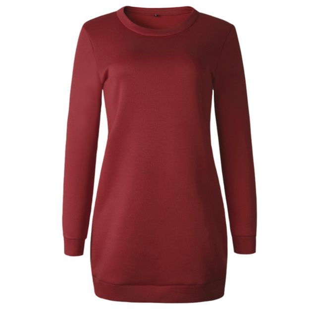 Knitted Winter Dress Women Casual O-Neck Black Red Warm Elegantn Long Sleeve Sexy Knitted Sweater Dress Female Wholesale 5