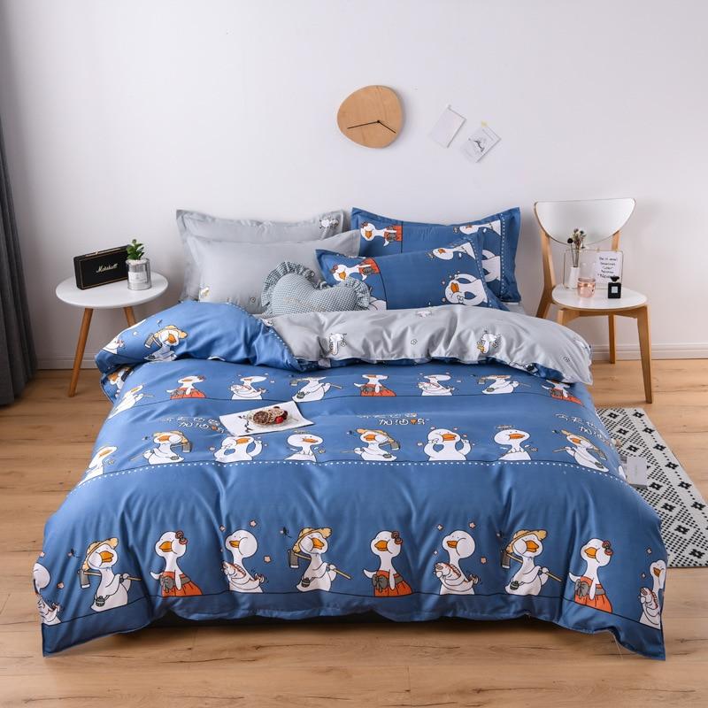 Blue Duck bedding set 2020 new spring bed linen set cartoon duvet cover bed sheet pillowcase queen summer bed set pastoral style|bedding kids|queen bedsets|star bedding set - title=