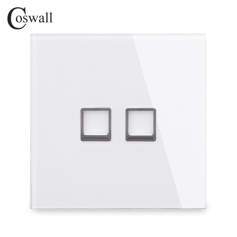 Coswall Crystal Tempered Glass Panel 2 Gang RJ45 CAT5E Internet Jack Wall Data Socket Computer Outlet White Black Grey Gold