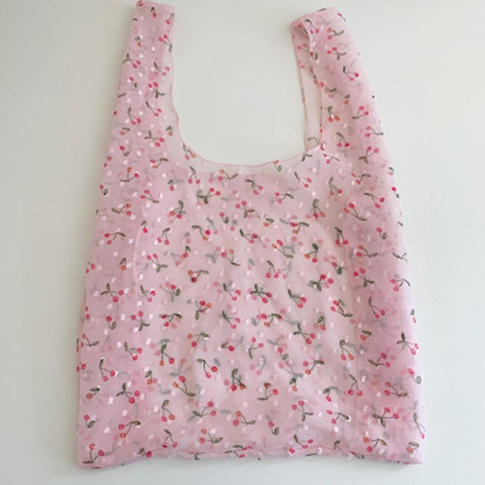 Women Small Transparent Tote Mesh Cloth Bag Embroidery Handbag Cute Flower Tulle Fruit Bag Purse Shopping Bag Large Capacity