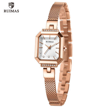 RUIMAS Ladies Simple Analog Watches Luxury Rose Gold Square Watch Women Mesh Strap Wristwatch Top Brand Relogios Femininos 579