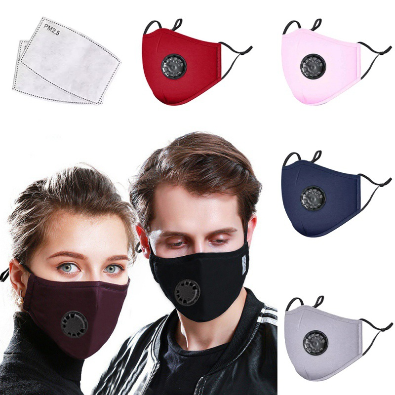 Cotton Valve Anti Haze Mask +2 Activated Carbon Filter Respirator 95% Mouth-muffle Outdoor Sports PM2.5 Dust Mask Fast Delivery