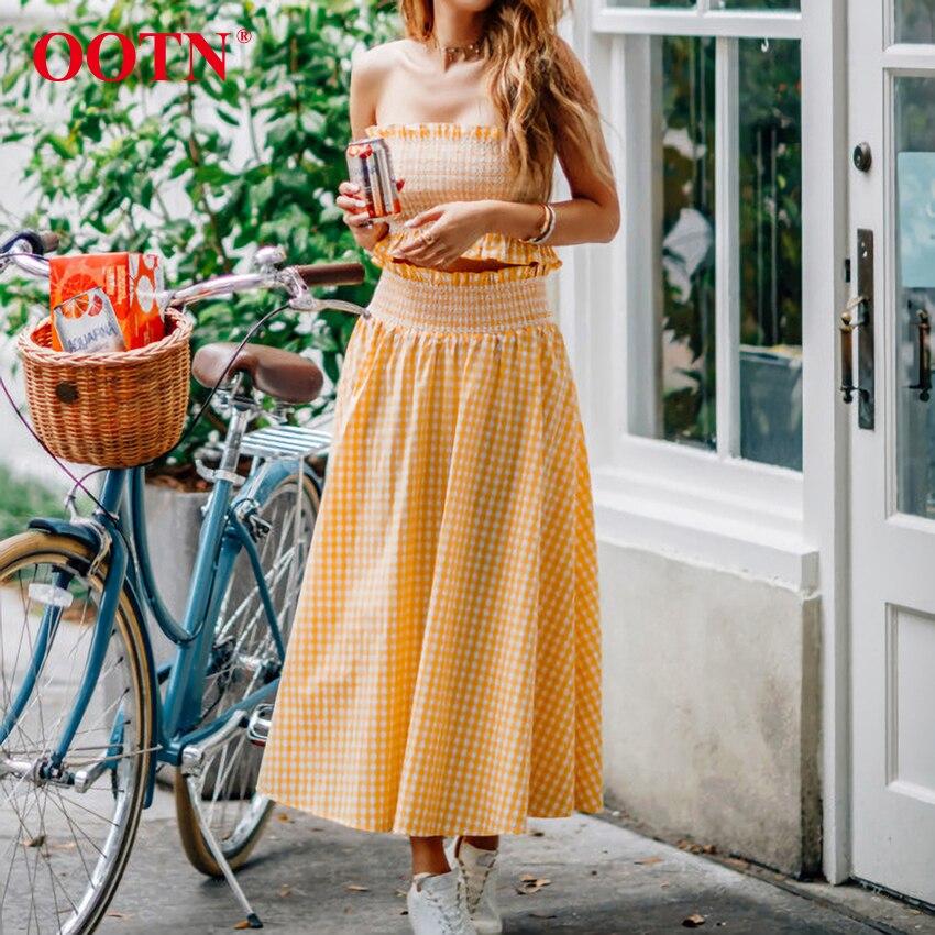 OOTN-Falda midi a cuadros para mujer, falda a cuadros, color naranja, blanco, Kawaii, de cintura alta, elástico largo, informal, para verano y otoño