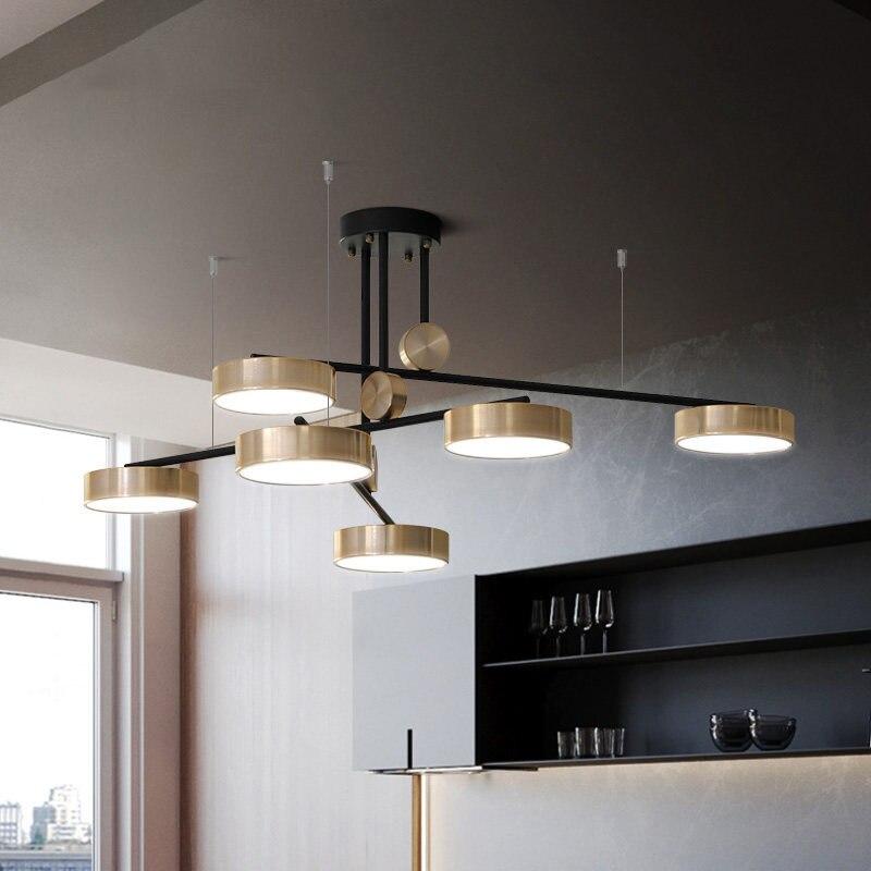 Post moderne rotatif luxe lustres lumières salon doré nordique Art déco chambre Restaurant plafonnier luminaires