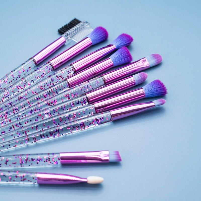 Glitter 10pcs Lovely Pink Unicorn Eye Brushes Set Eyeliner Eyebrow Eyeshadow Makeup Brushes Set Cosmetic Beauty Tools