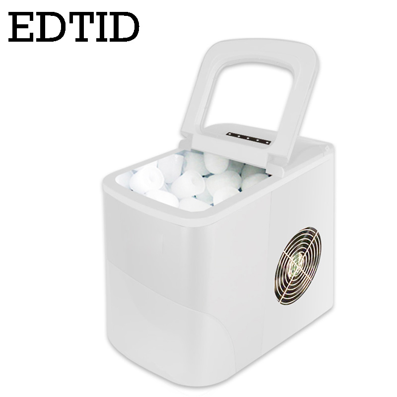 EDTID 15kgs/24H Automatic Electric Ice Maker Household Bullet Round Ice Cube Making Machine Family Small Bar Mini Coffee Shop EU