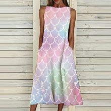 Vestido de verão feminino em torno do pescoço sem mangas scenic floral impresso bolso vestidos casuais elegante vestido longo # g2
