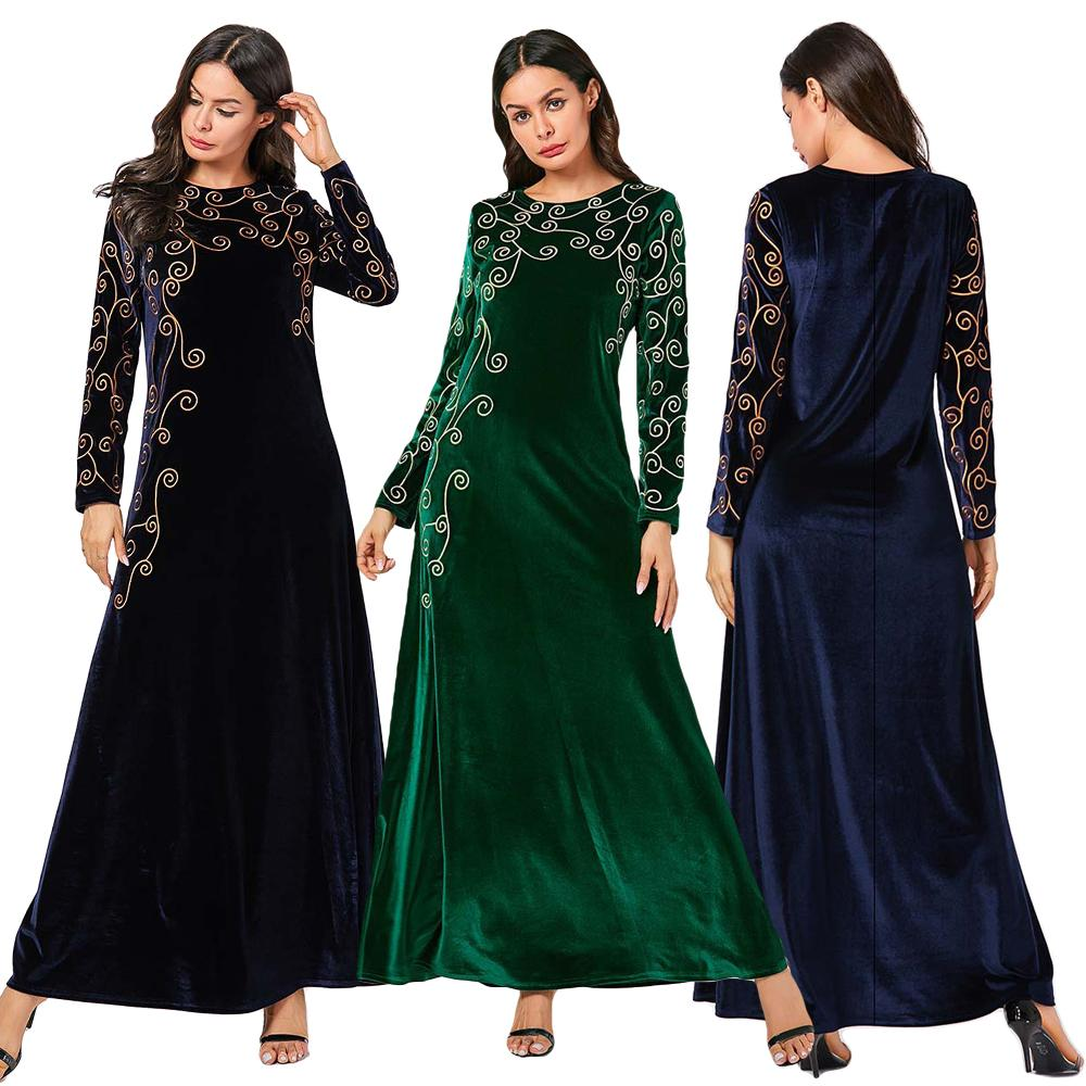 Autumn Winter Muslim Women Long Sleeve Velvet Dress Abaya Kaftan Arab Robe Maxi Gowns Islamic Clothing Vintage Plus Size Fashion