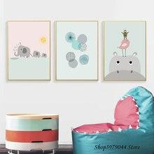 kids Bedroom decor Cartoon Animals Poster Nordic Style Decoracao Para Casa Wall Art Canvas Cuadros Decoracion Salon Unframed