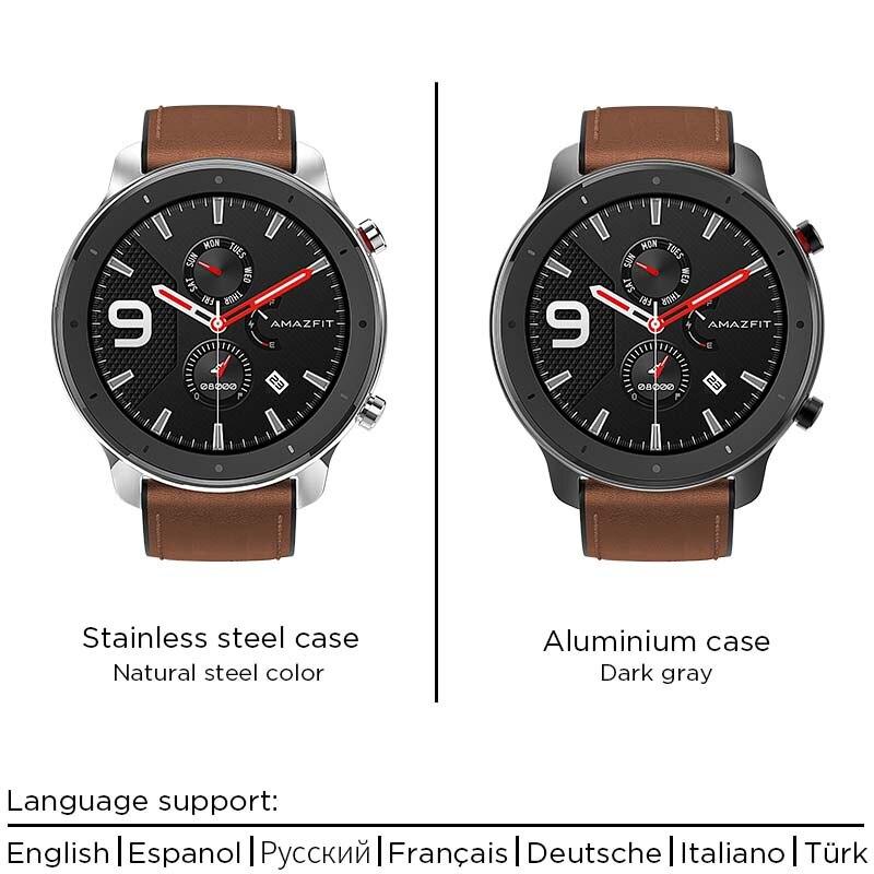 Versión Global Amazfit GTR 47mm reloj inteligente 5ATM reloj inteligente impermeable 24 días batería Control de música cuero silicona Correa - 2