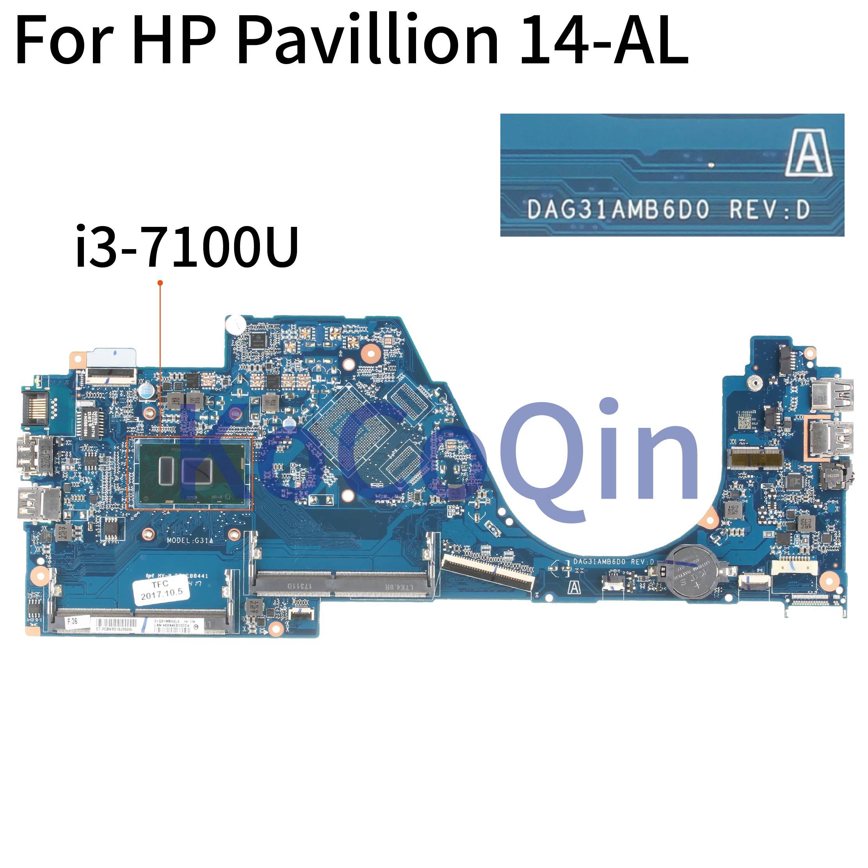 KoCoQin Laptop motherboard For HP Pavillion 14-AL Core I3-7100U Mainboard DAG31AMB6D0 REV:D SR2ZW CPU