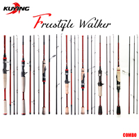 KUYING FREESTYLE COMBO Lure Fishing Rod Fish Casting Spinning UL M H L Hard Ultra Light Medium 4 sections Mini Pocket Travel