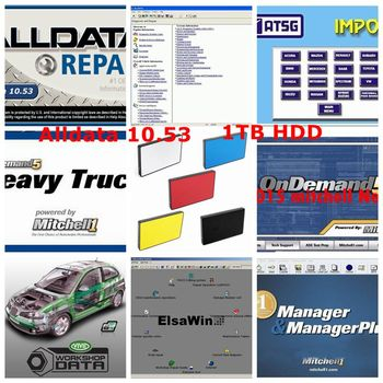 Alldata 10.53 auto repair software 2019 Hot alldata mitchell on demand and mitchell ondemand 5.8+moto heavy truck 49in1 hdd 1tb