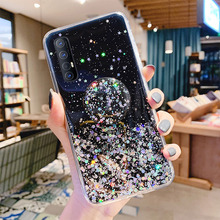 Glitter Bling Phone Case For Samsung S20 Ultra S10e S10 S8 S9 Plus Note 10 Lite 8 9 M10 M20 M30 M40 Ring Holder Fur Ball Cover lavaza fashion girl silicone case for samsung s6 edge s7 s8 plus s9 s10 s10e note 8 9 10 m10 m20 m30 m40