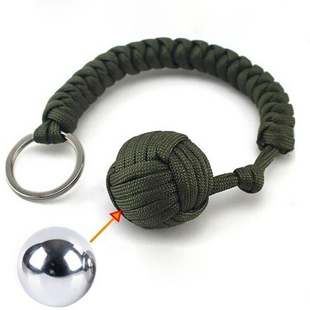 1Pcs Outdoor Sports Equipment Monkey Fist Round Umbrella Rope Key Ring Pendant Self-defense Ball Key Accessories Crafts KeyChain