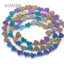 Multicolor Heart Hematite Stone Beads For Needlework Jewelry Making 6 8mm Spacer Diy Necklace Bracelet Accessories 15
