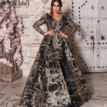 Robe De Soiree Black Long Sleeves Evening Dress Dubai 2020 Newest Sparkly Golden Lace Mermaid Prom Gowns Detachable Train(China)
