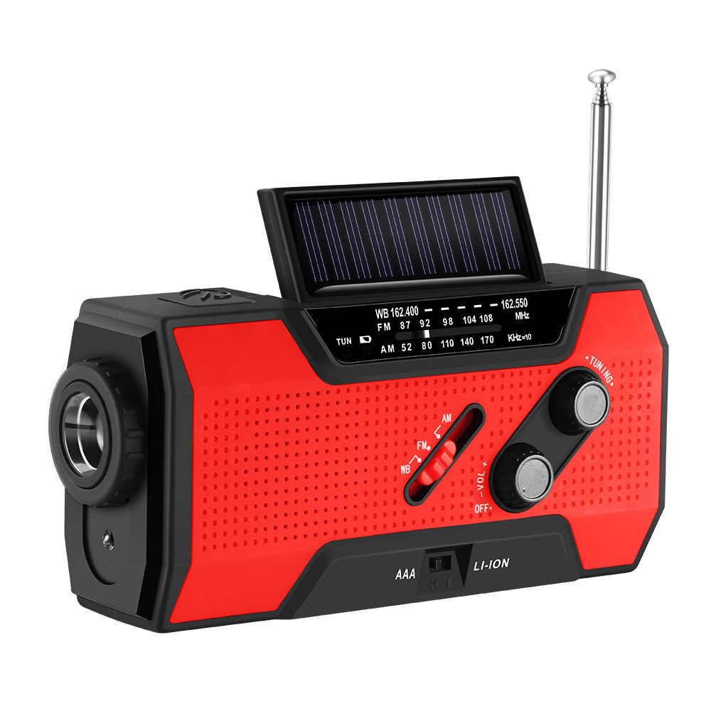 FORNORM para NOAA, Radio Solar de emergencia, autoalimentada manivela de mano, linterna de batería 3AAA, 2000 mAh, Banco de energía multiusos