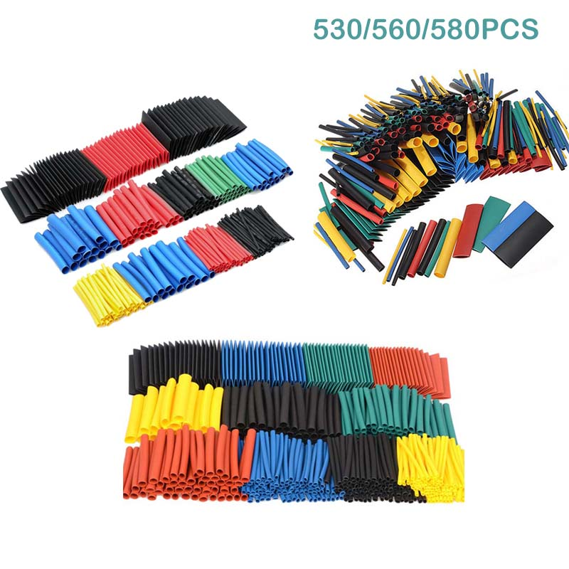 530pcs 560pcs 580pcs Heat Shrink Tubing Insulation Shrinkable Tubes Electronic Polyolefin Wire Cable Sleeve Kit Heat Shrink Tube