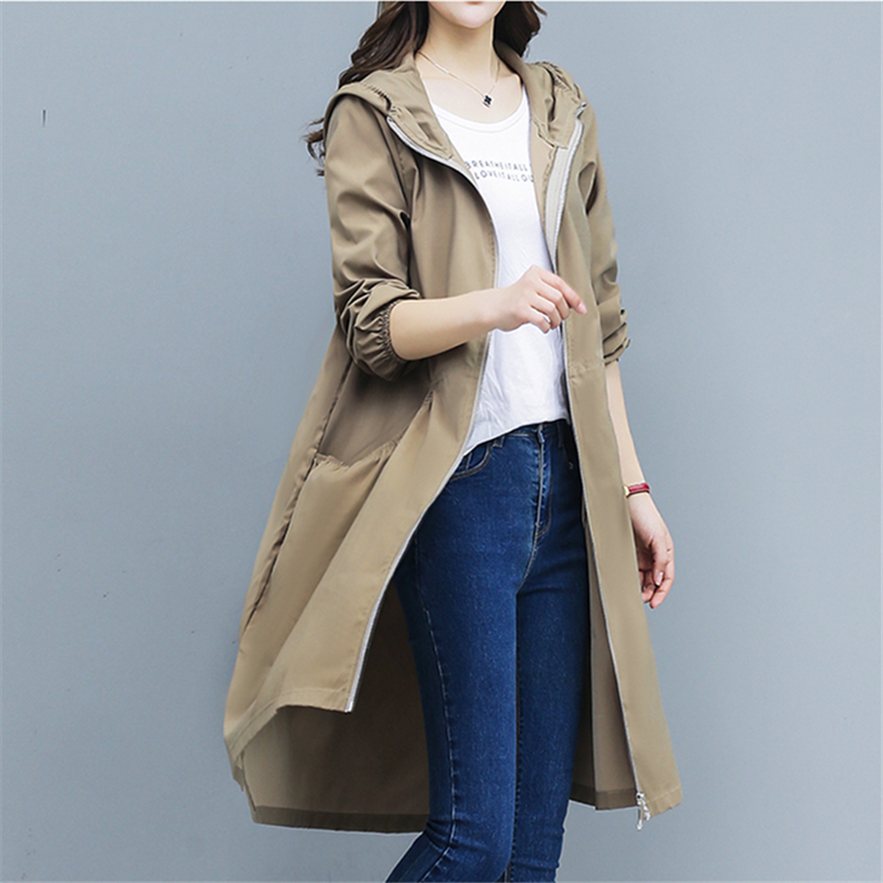 Spring Autumn Thin Hooded   Trench   Coat Women Korean Plus size Loose Solid Long Windbreaker Women Overcoat Female Casaco Feminino