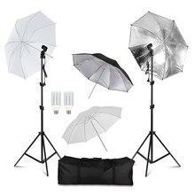 Kit d'éclairage de parapluie de Studio de Photo de photographie avec le parapluie léger blanc de support de lumière de 2m avec des ampoules de 20W