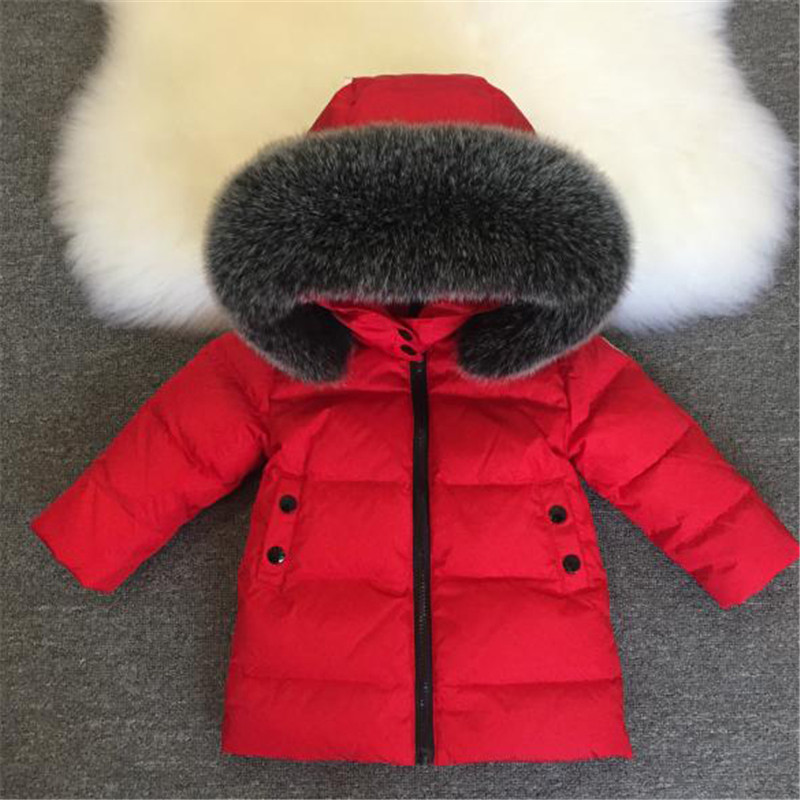 kids down coat classic fur hooded down jacket coat for 1-10years child boys girls Winter coat down clothes outerwear