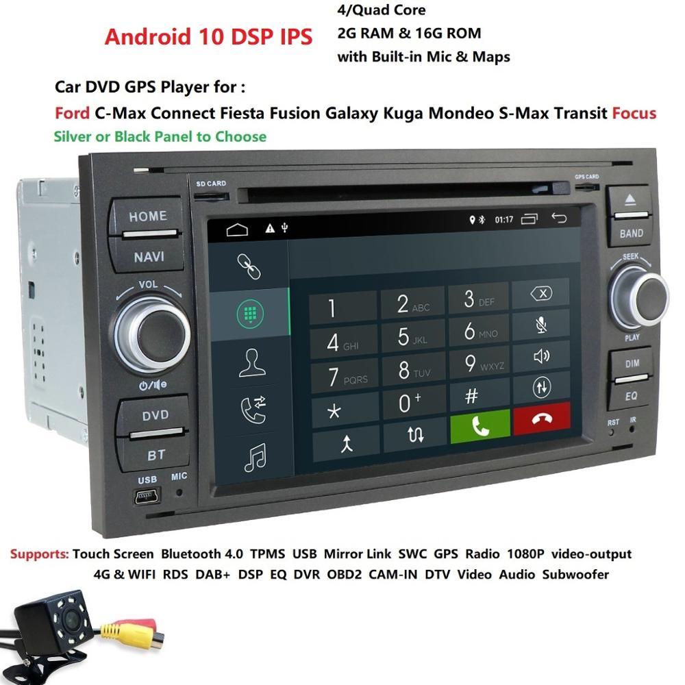 Hizpo 2 Din Android 10 Quad Core Car DVD Player GPS Navigation WIFI 4G for FORD Kuga Fusion Transit Fiesta Focus SWC(China)