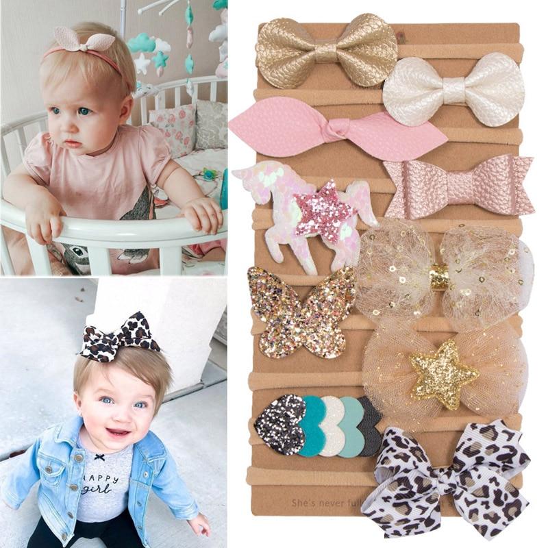 1pc//4pcs Hair Bowknots Hair Band Boutique Ribbon Headbands For Girl Baby Kids