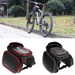 """2 sztuk rowerów Bike przednia rama torba sakwa na rurę dwa miejsca na telefon 6.2"""" w Torby i sakwy rowerowe od Sport i rozrywka na"""