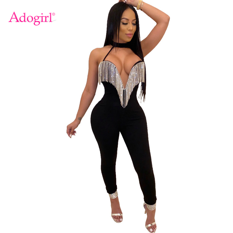 Adogirl Diamonds Tassel Halter Jumpsuit Women Sexy Strapless V Neck Bandage Romper Backless Night Club Overalls Bodysuits title=